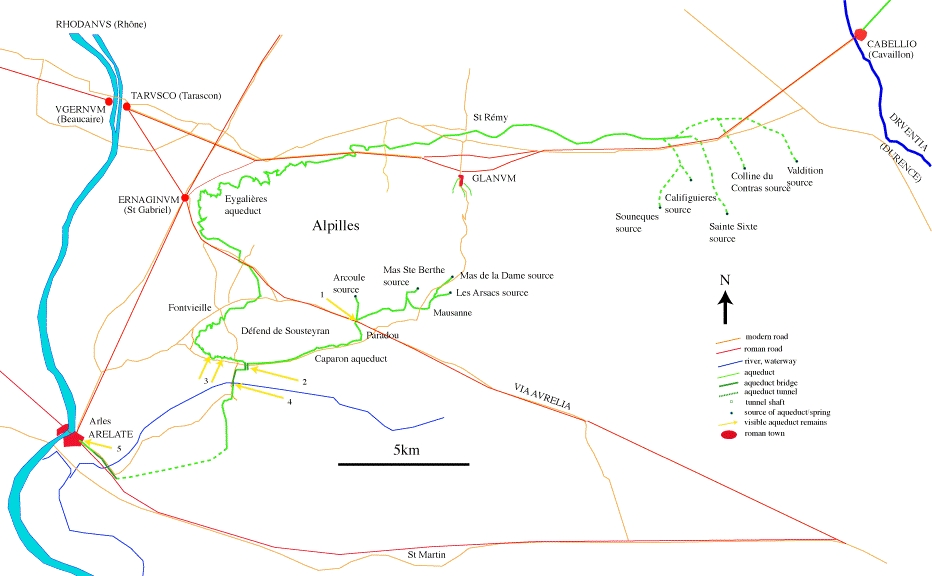 Roman aqueducts Arles and Barbegal France