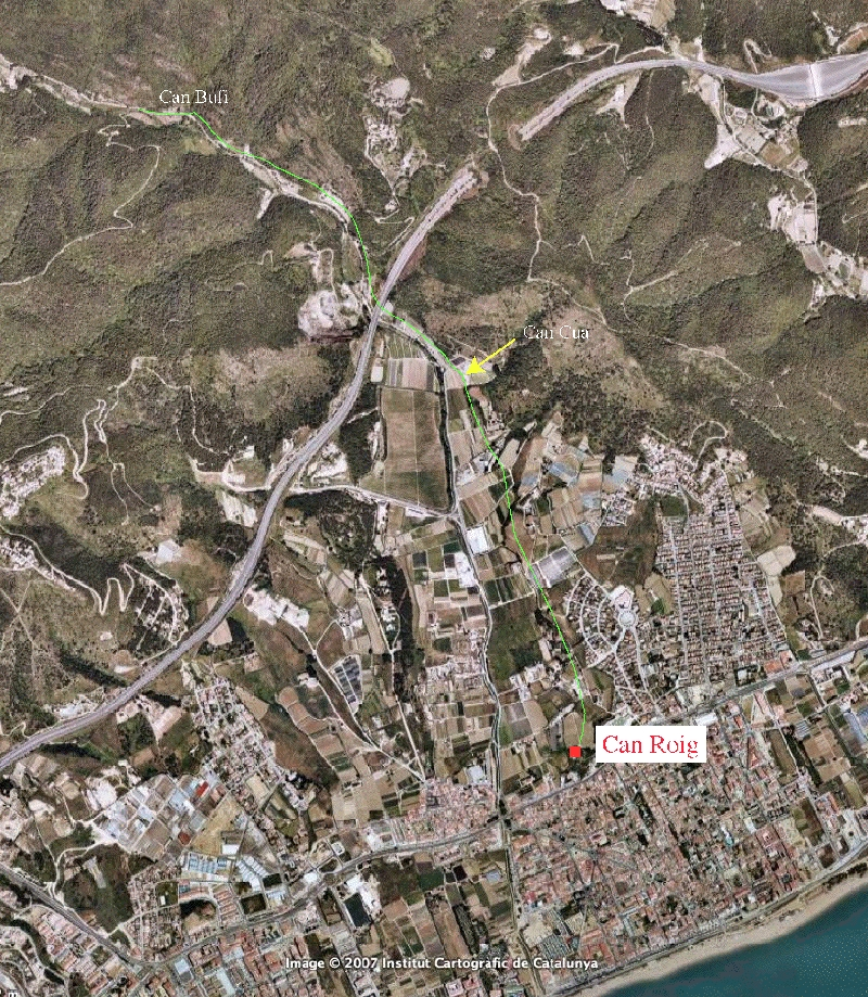googleearth image of pineda de mar spain and the roman aqueduct in green. Black Bedroom Furniture Sets. Home Design Ideas