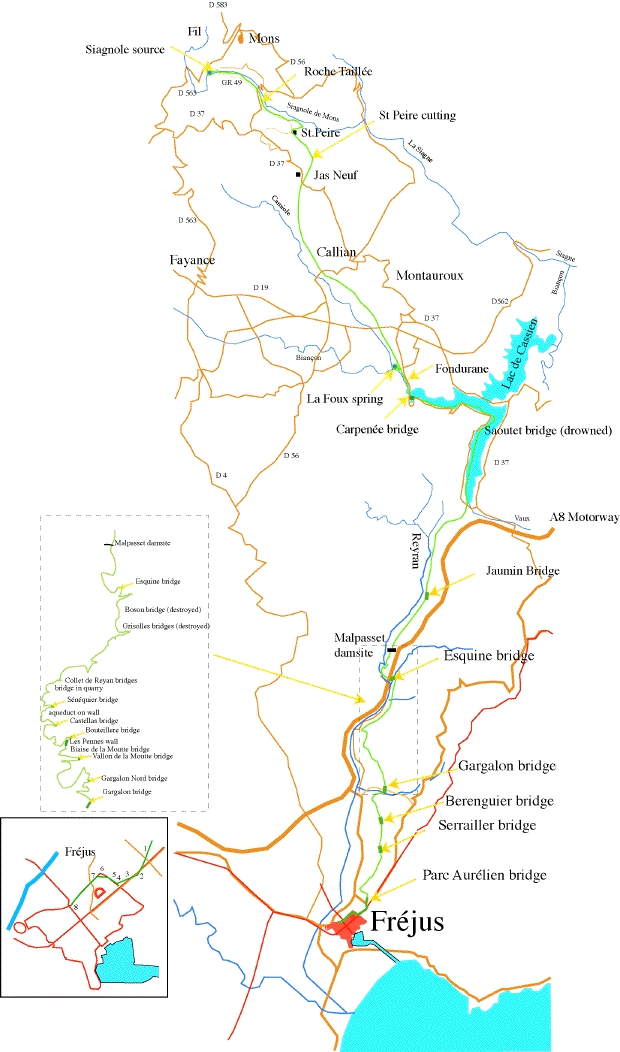 St Raphael France Map.Roman Aqueducts Frejus France